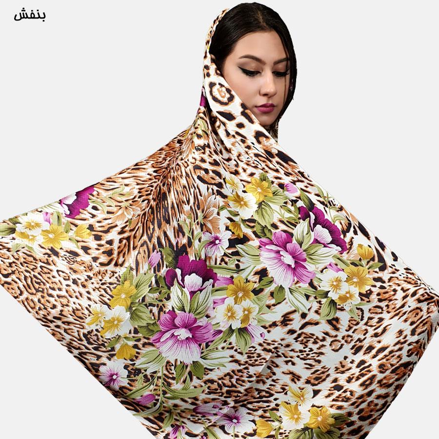 روسری ساتن گلدار زمینه پلنگی