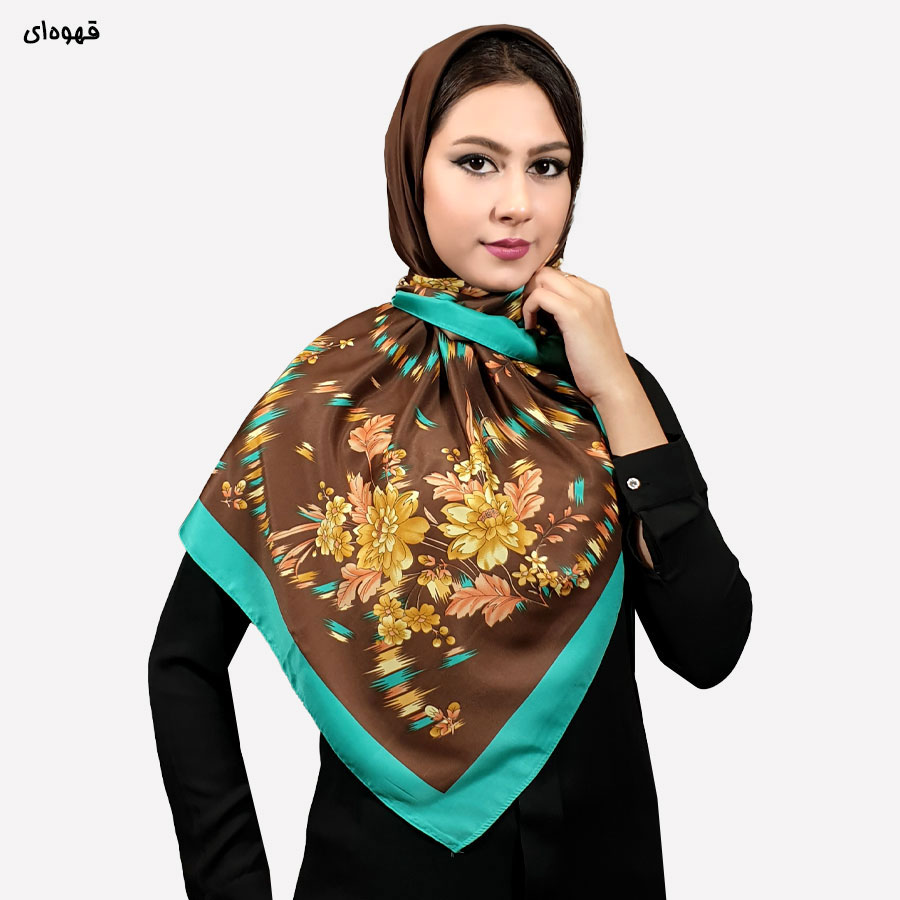 روسری توییل چهارگوش گلدار