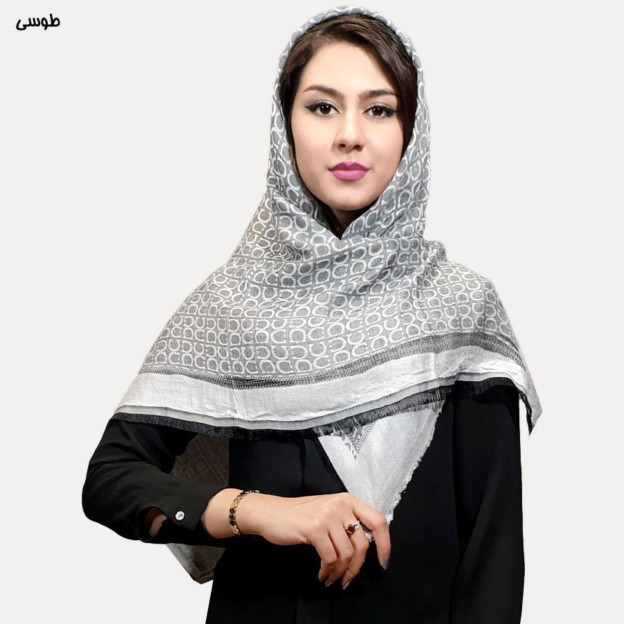 روسری نخی طرح دار طوسی
