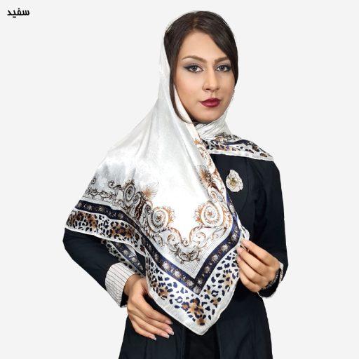 روسری ساتن سفید اسلیمی